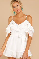 5 Find The Moment White Cold Shoulder Romper at reddressboutique.com