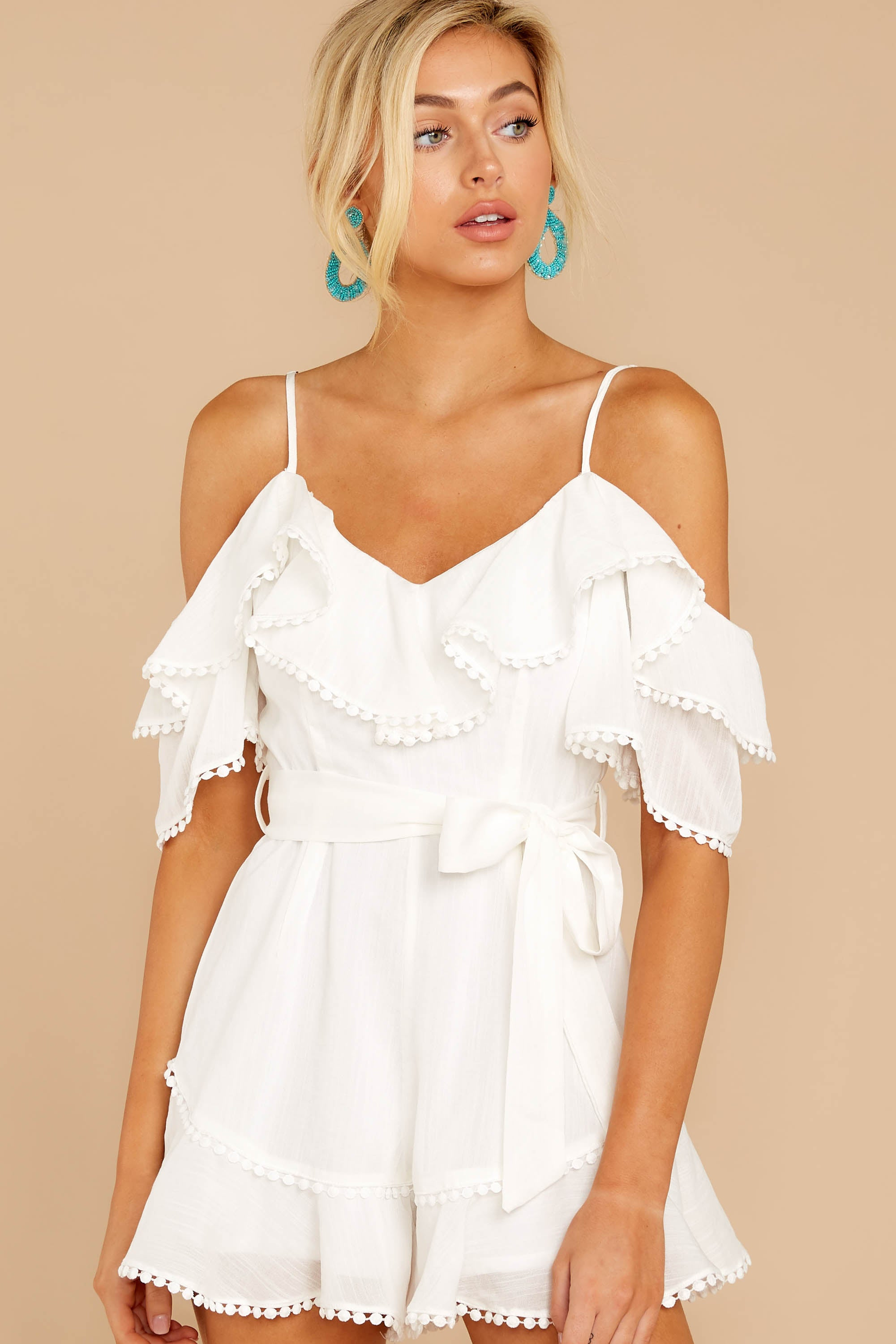 6 Find The Moment White Cold Shoulder Romper at reddressboutique.com