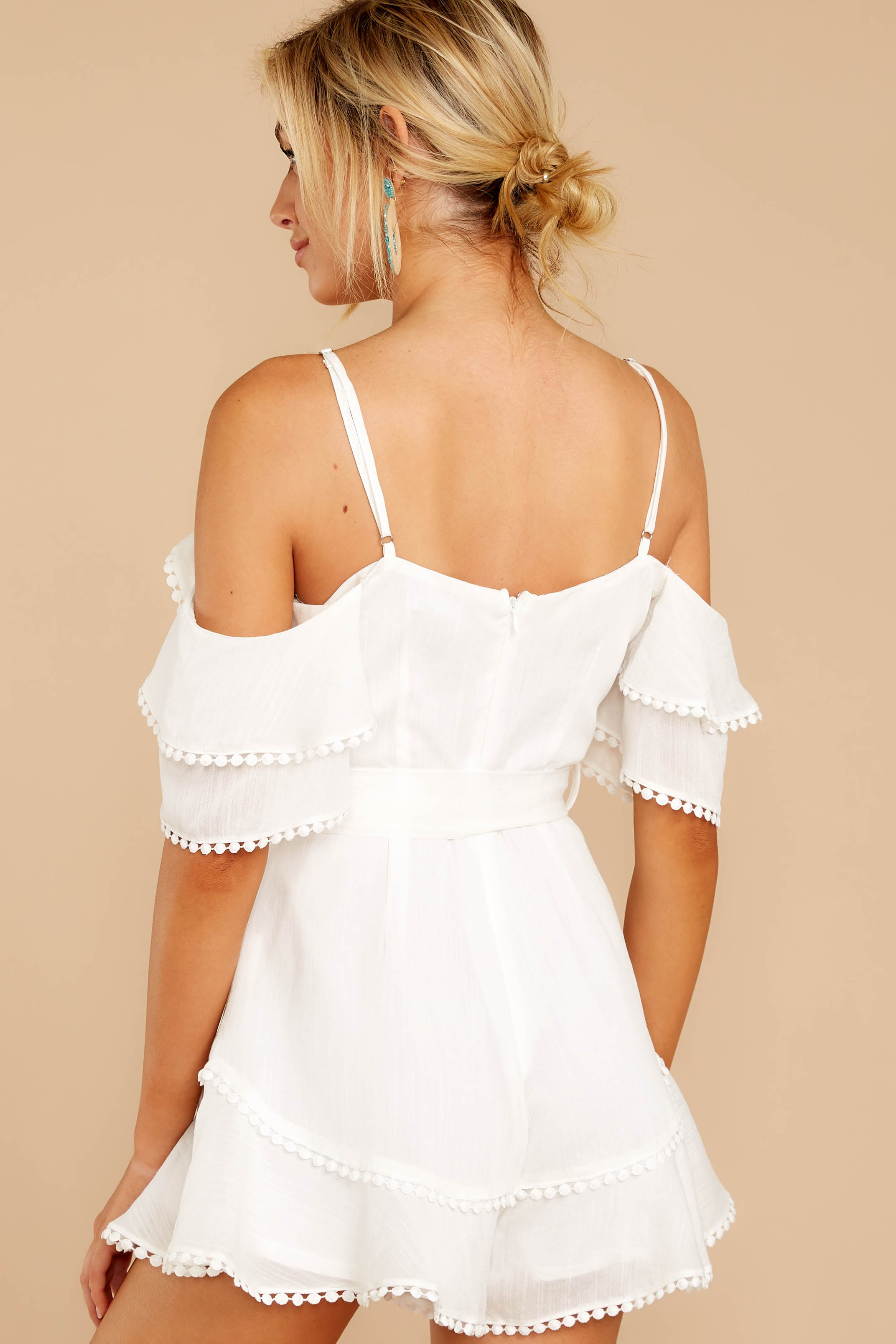 7 Find The Moment White Cold Shoulder Romper at reddressboutique.com