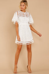 2 Tassel And Dazzle White Lace Dress at reddressboutique.com