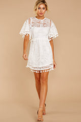 3 Tassel And Dazzle White Lace Dress at reddressboutique.com