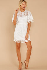 4 Tassel And Dazzle White Lace Dress at reddressboutique.com