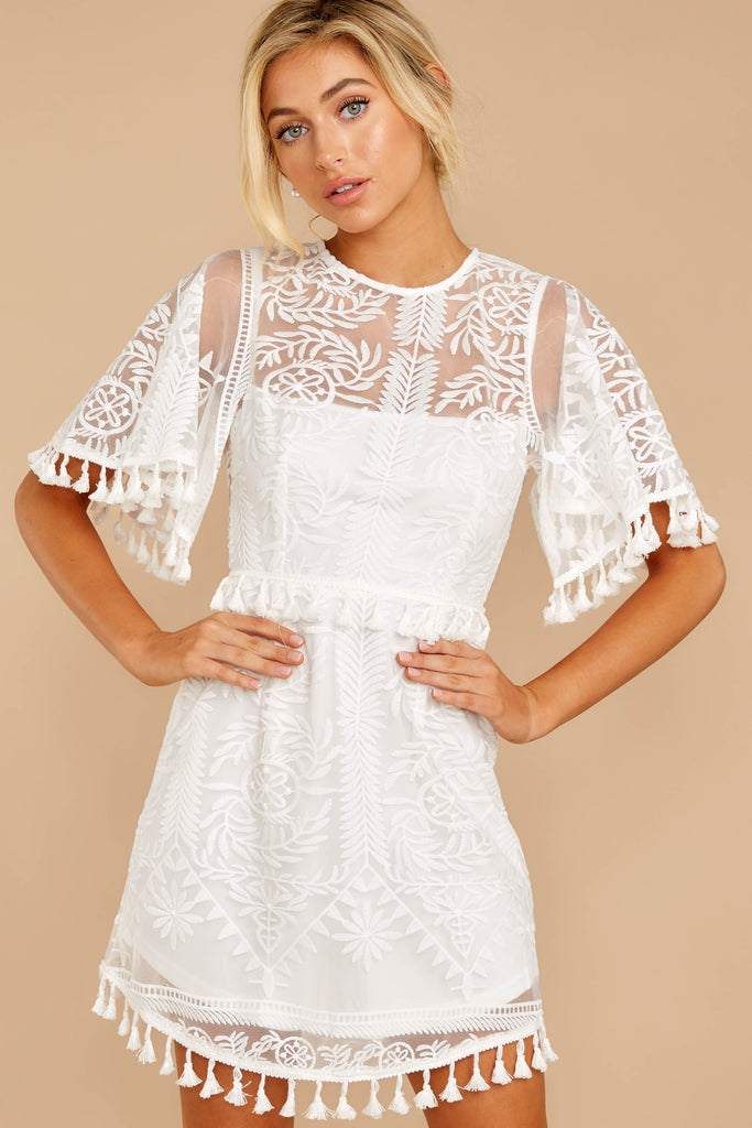 4 Tea With You Ivory Lace Off The Shoulder Dress at reddressboutique.com