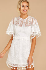 6 Tassel And Dazzle White Lace Dress at reddressboutique.com