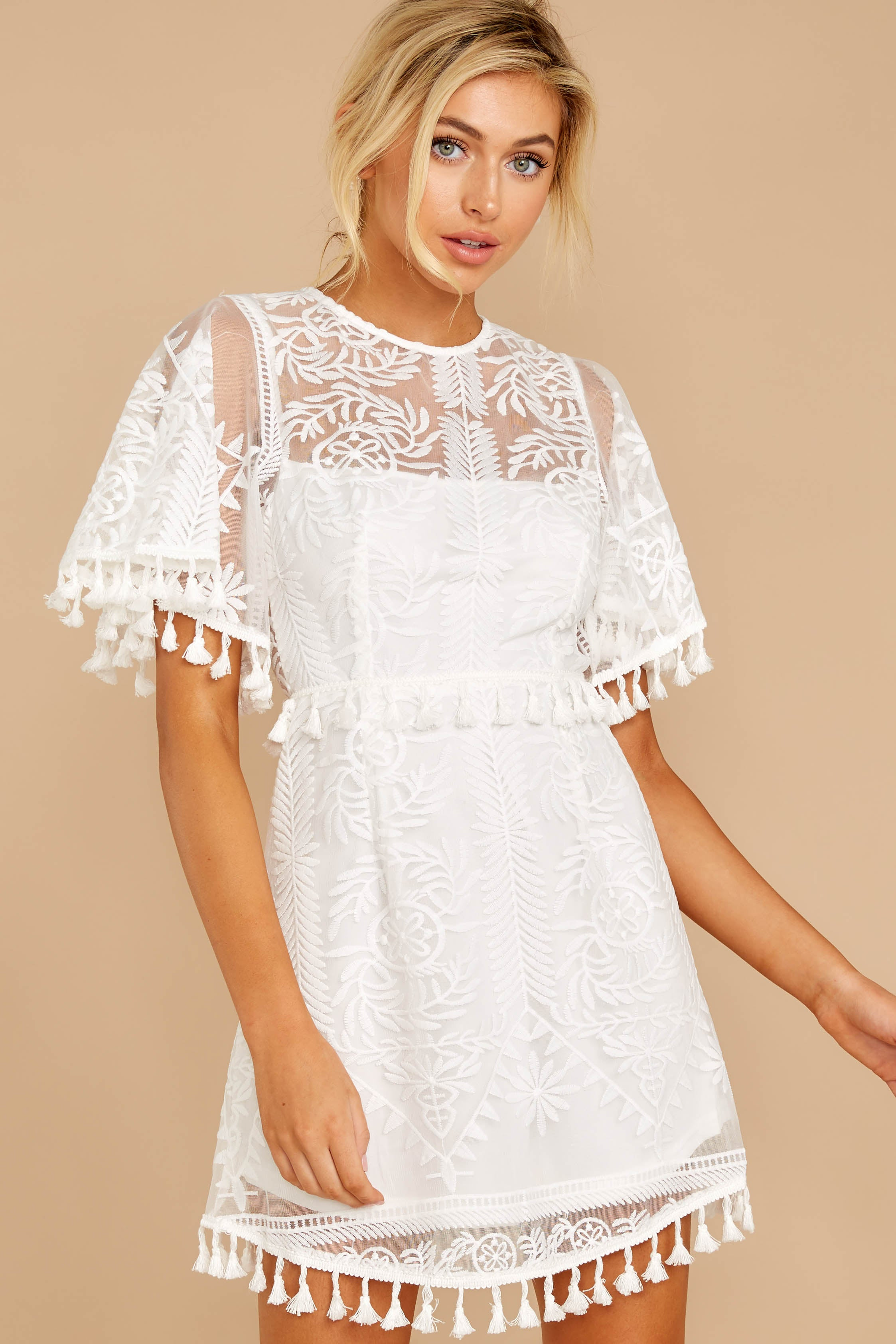 5 Tassel And Dazzle White Lace Dress at reddressboutique.com