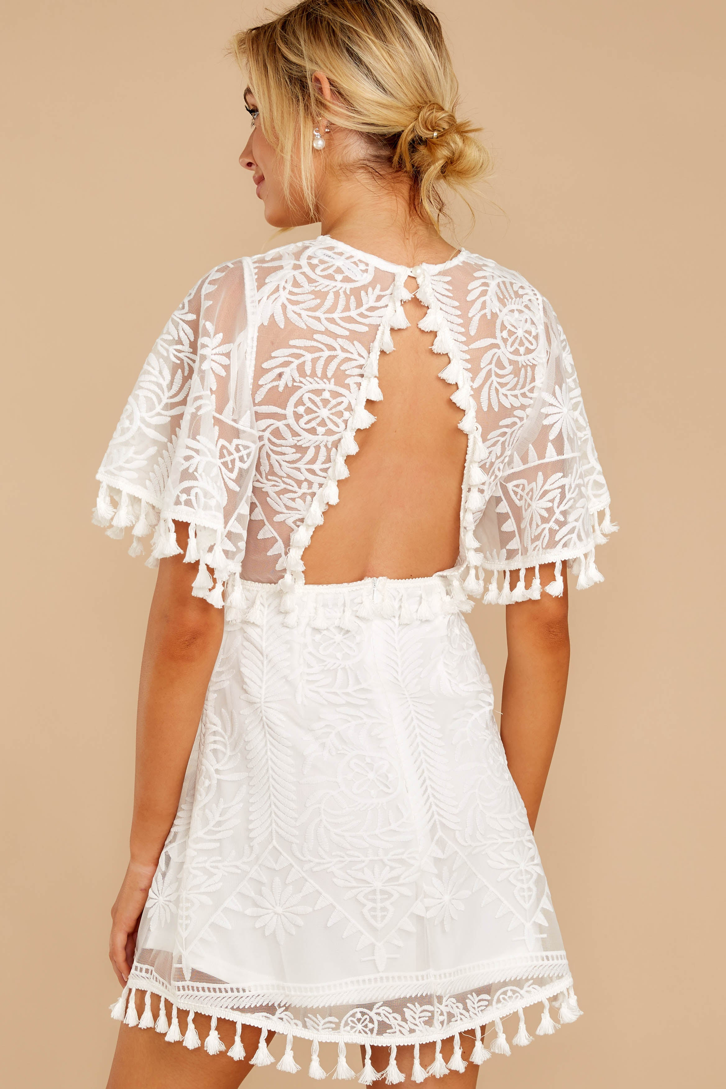 7 Tassel And Dazzle White Lace Dress at reddressboutique.com