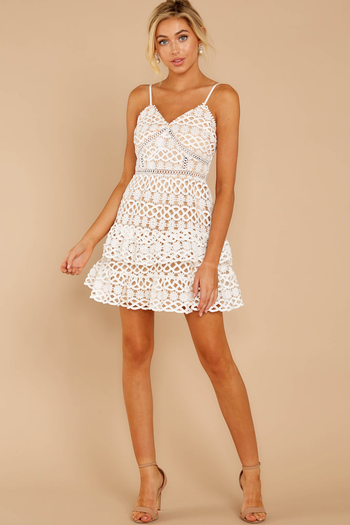 1 Dressed In Chic White Lace Midi Dress at reddressboutique.com
