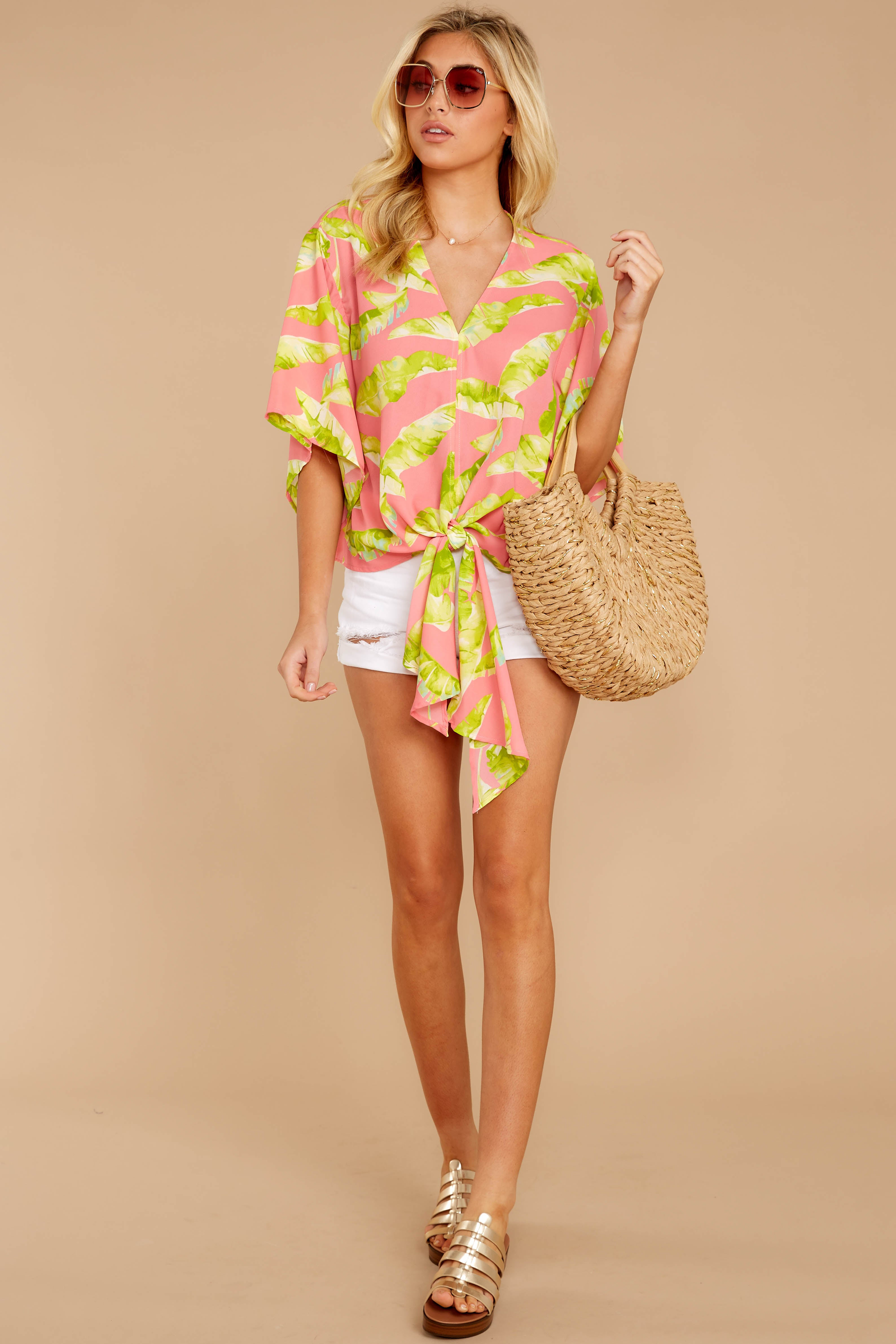 1 Put A Knot In It Pink Palm Print Tie Top at reddressboutique.com