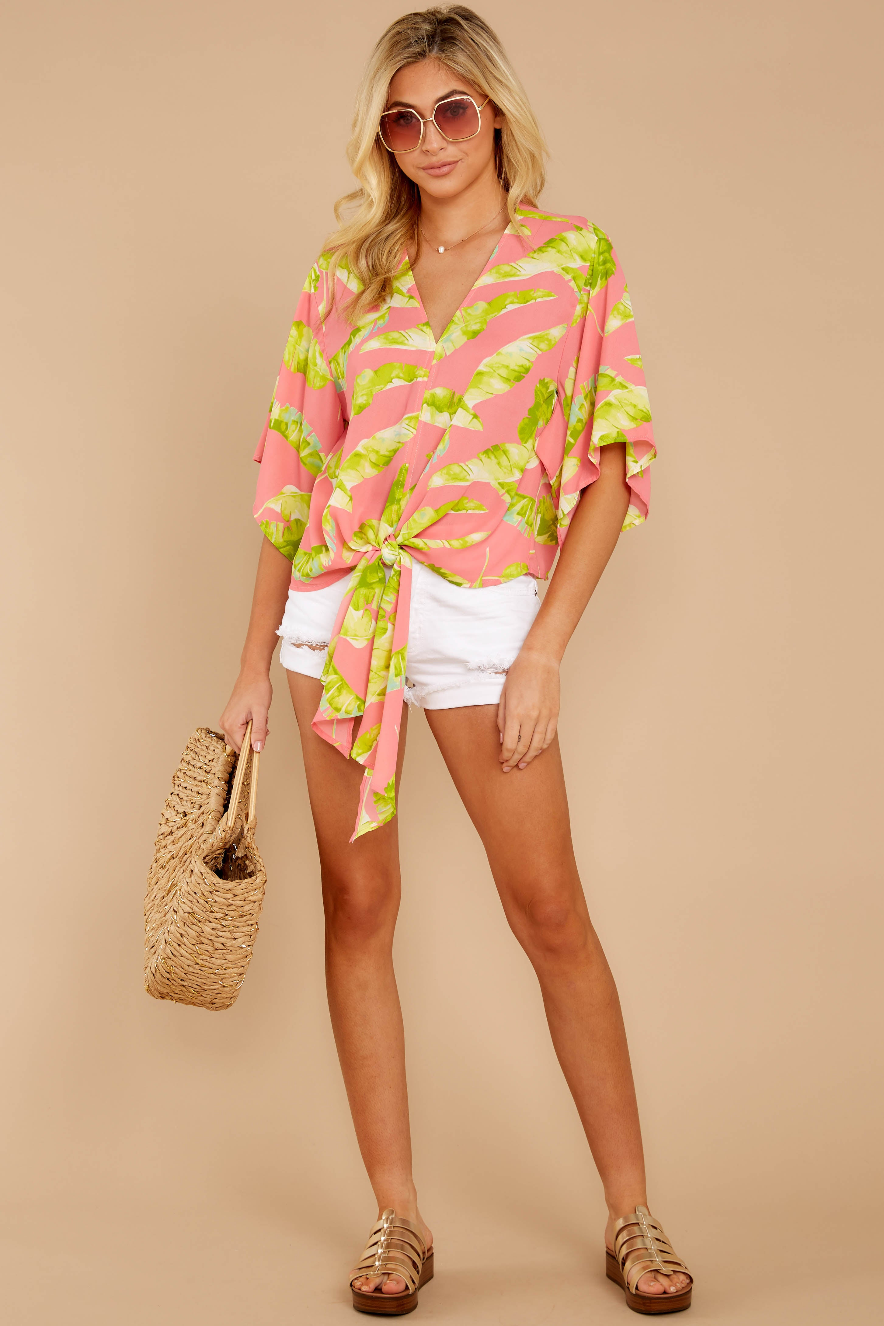 2 Put A Knot In It Pink Palm Print Tie Top at reddressboutique.com