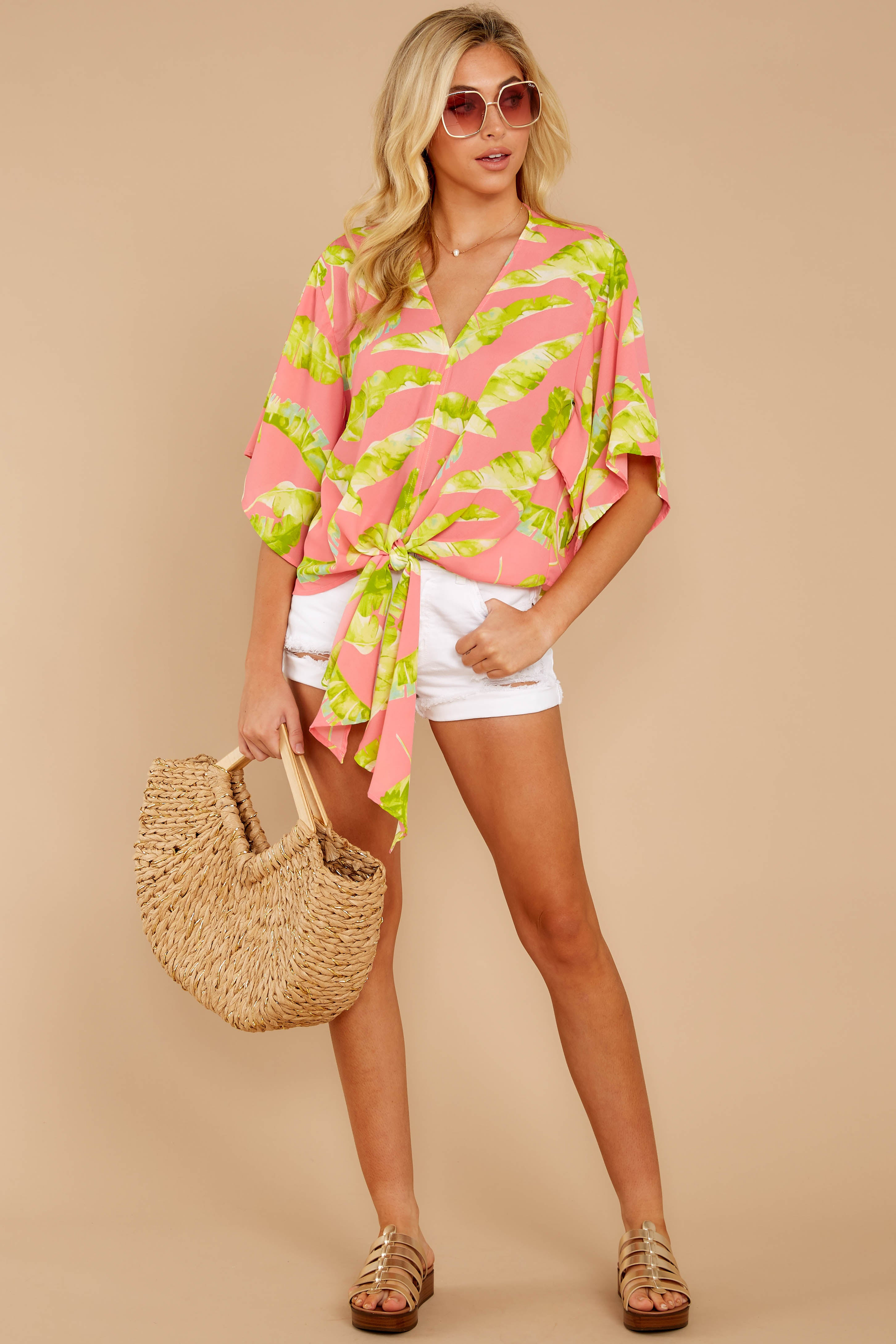 3 Put A Knot In It Pink Palm Print Tie Top at reddressboutique.com