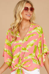 4 Put A Knot In It Pink Palm Print Tie Top at reddressboutique.com