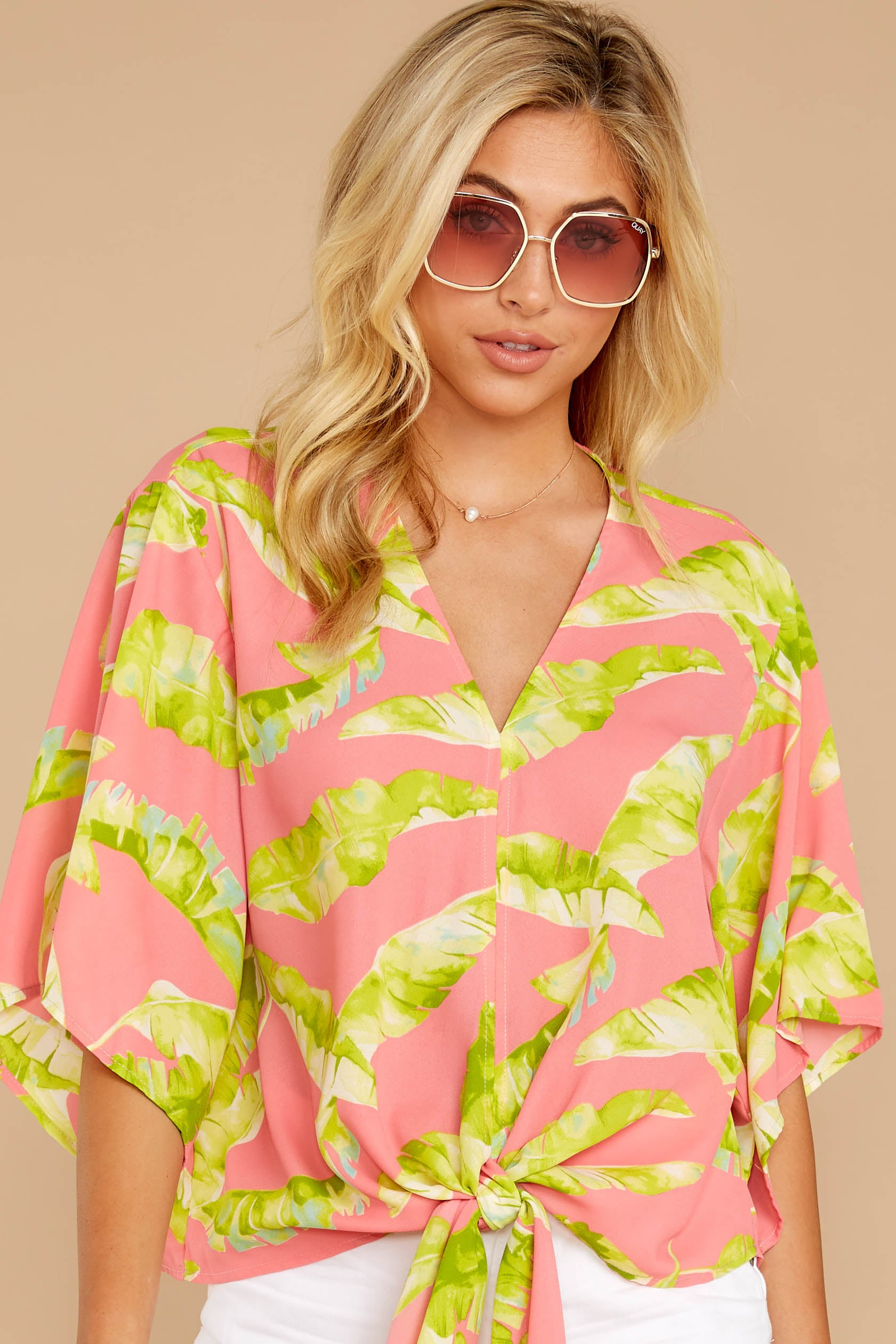5 Put A Knot In It Pink Palm Print Tie Top at reddressboutique.com