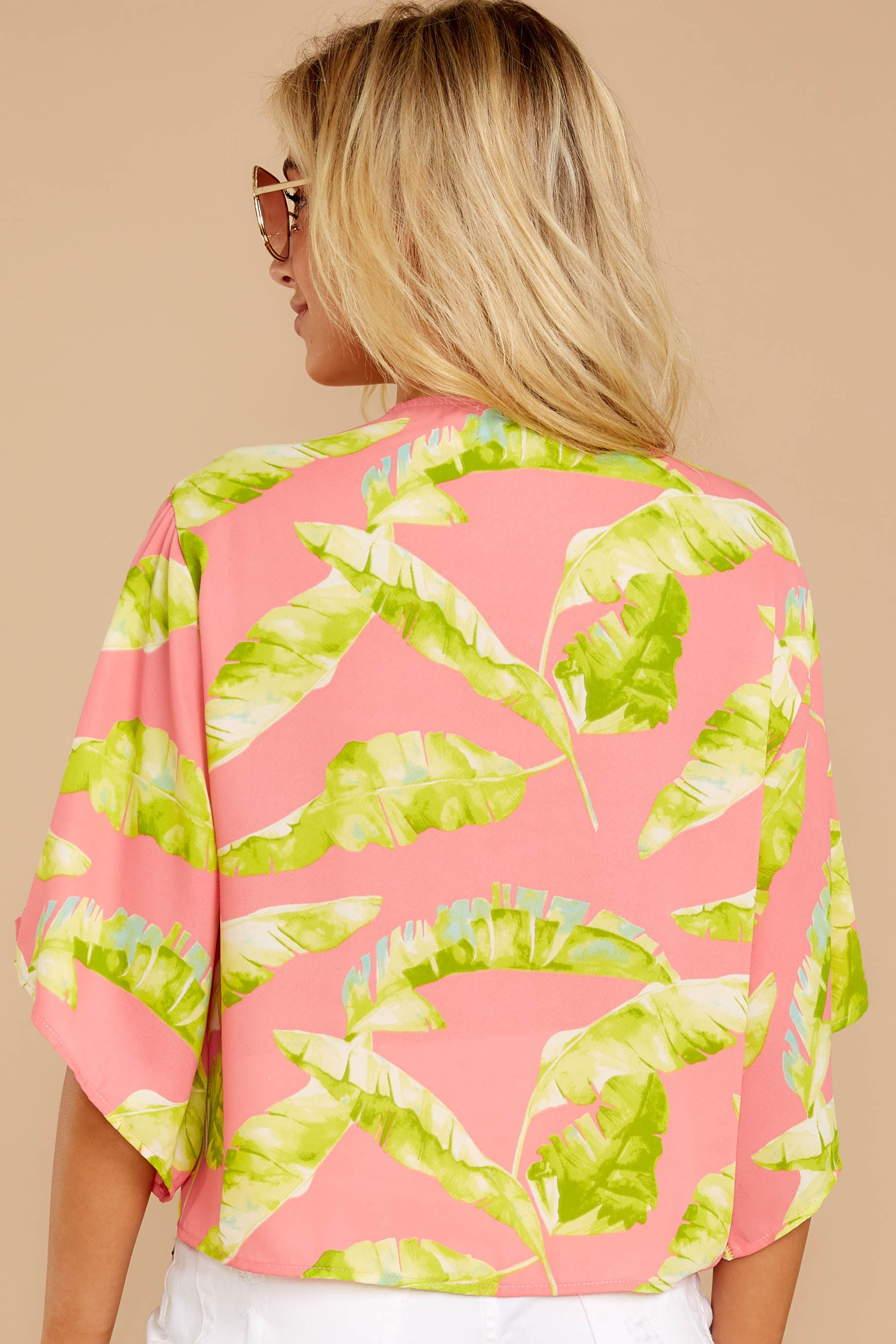 7 Put A Knot In It Pink Palm Print Tie Top at reddressboutique.com