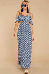 1 Declaration Of Style Navy Blue Print Maxi Dress at reddressboutique.com