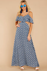 2 Declaration Of Style Navy Blue Print Maxi Dress at reddressboutique.com