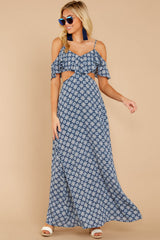 3 Declaration Of Style Navy Blue Print Maxi Dress at reddressboutique.com