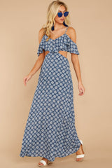 4 Declaration Of Style Navy Blue Print Maxi Dress at reddressboutique.com