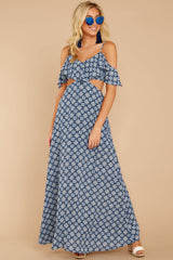 5 Declaration Of Style Navy Blue Print Maxi Dress at reddressboutique.com