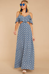 6 Declaration Of Style Navy Blue Print Maxi Dress at reddressboutique.com