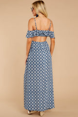 7 Declaration Of Style Navy Blue Print Maxi Dress at reddressboutique.com