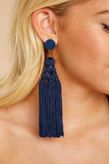 1 Worth The Tassel Navy Earrings at reddressboutique.com