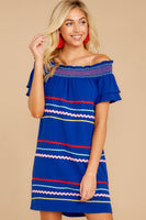 Tall Shift Off the Shoulder Shirred Dress With a Ribbon
