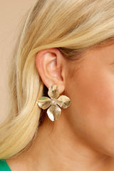1 One Floral Gold Earrings at reddressboutique.com