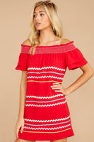 Tall Shirred Shift Off the Shoulder Dress With a Ribbon