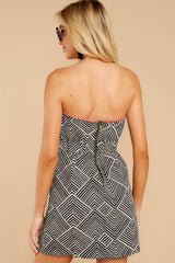 6 Let's Cruise Black And White Print Dress at reddress.com