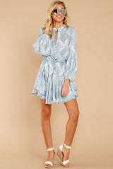 2 Let This Be Light Blue Snake Print Dress at reddressboutique.com