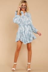 3 Let This Be Light Blue Snake Print Dress at reddressboutique.com
