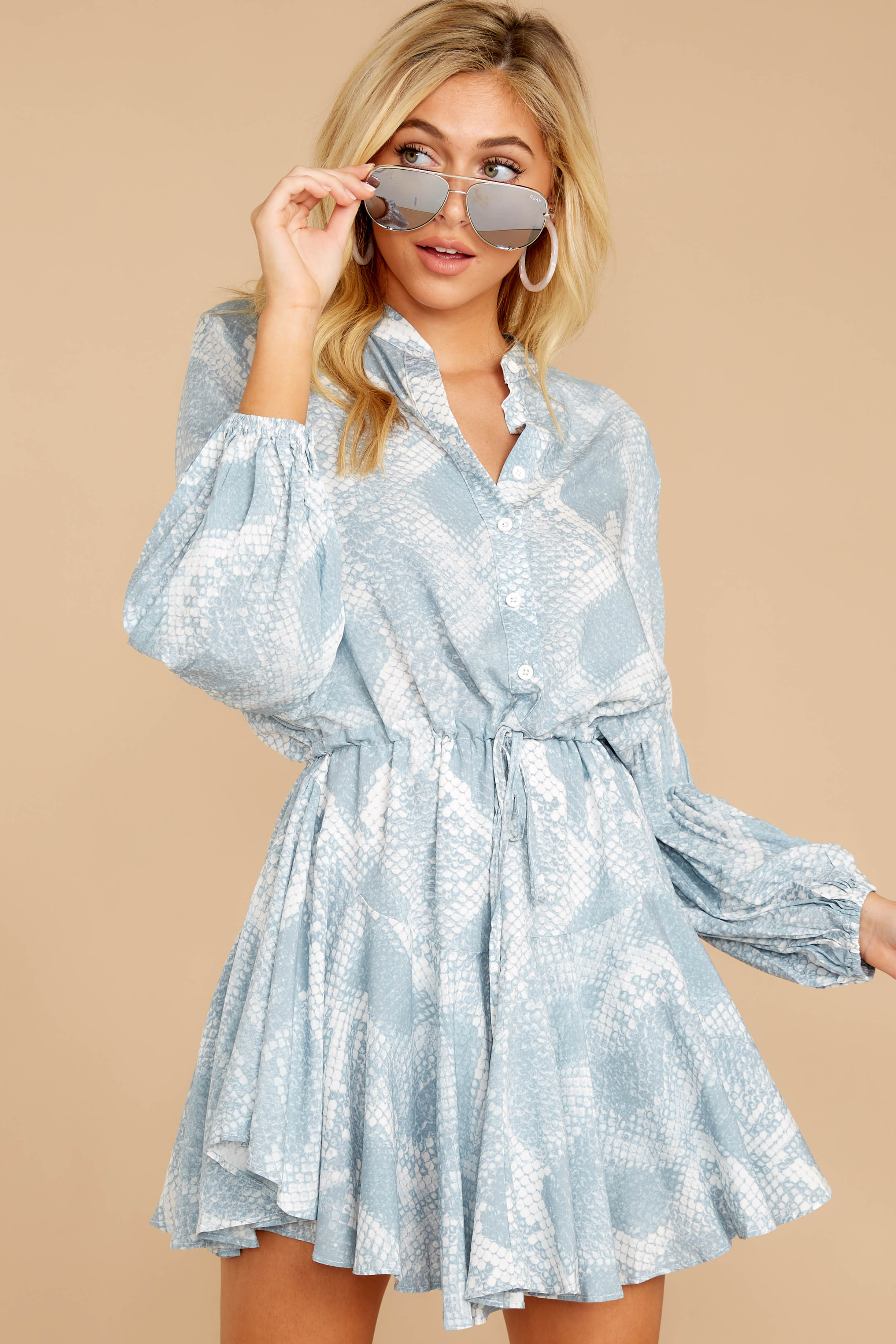 6 Let This Be Light Blue Snake Print Dress at reddressboutique.com