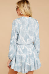 7 Let This Be Light Blue Snake Print Dress at reddressboutique.com