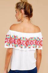 7 Before Dark White Embroidered Off The Shoulder Top at reddressboutique.com