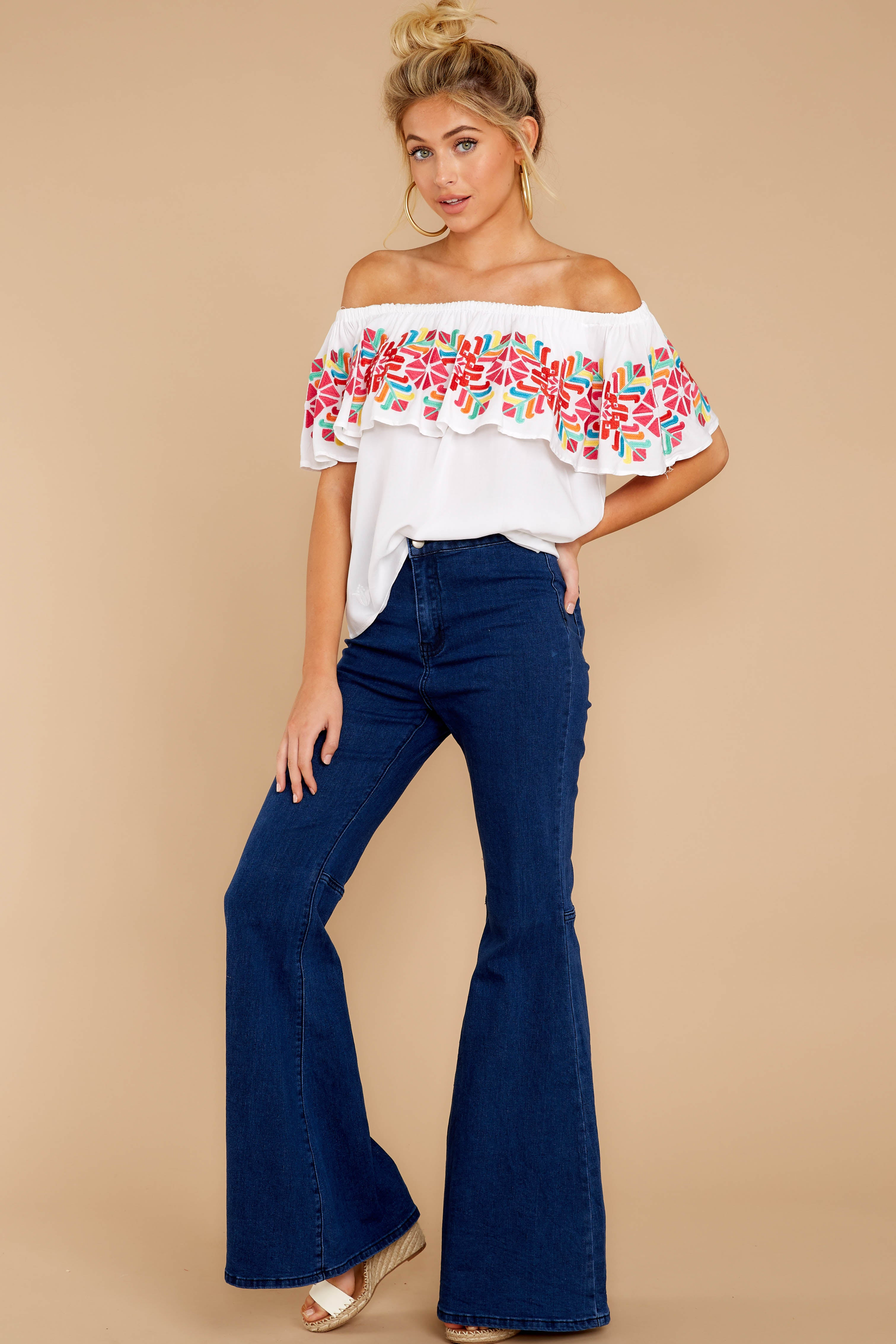 1 Before Dark White Embroidered Off The Shoulder Top at reddressboutique.com