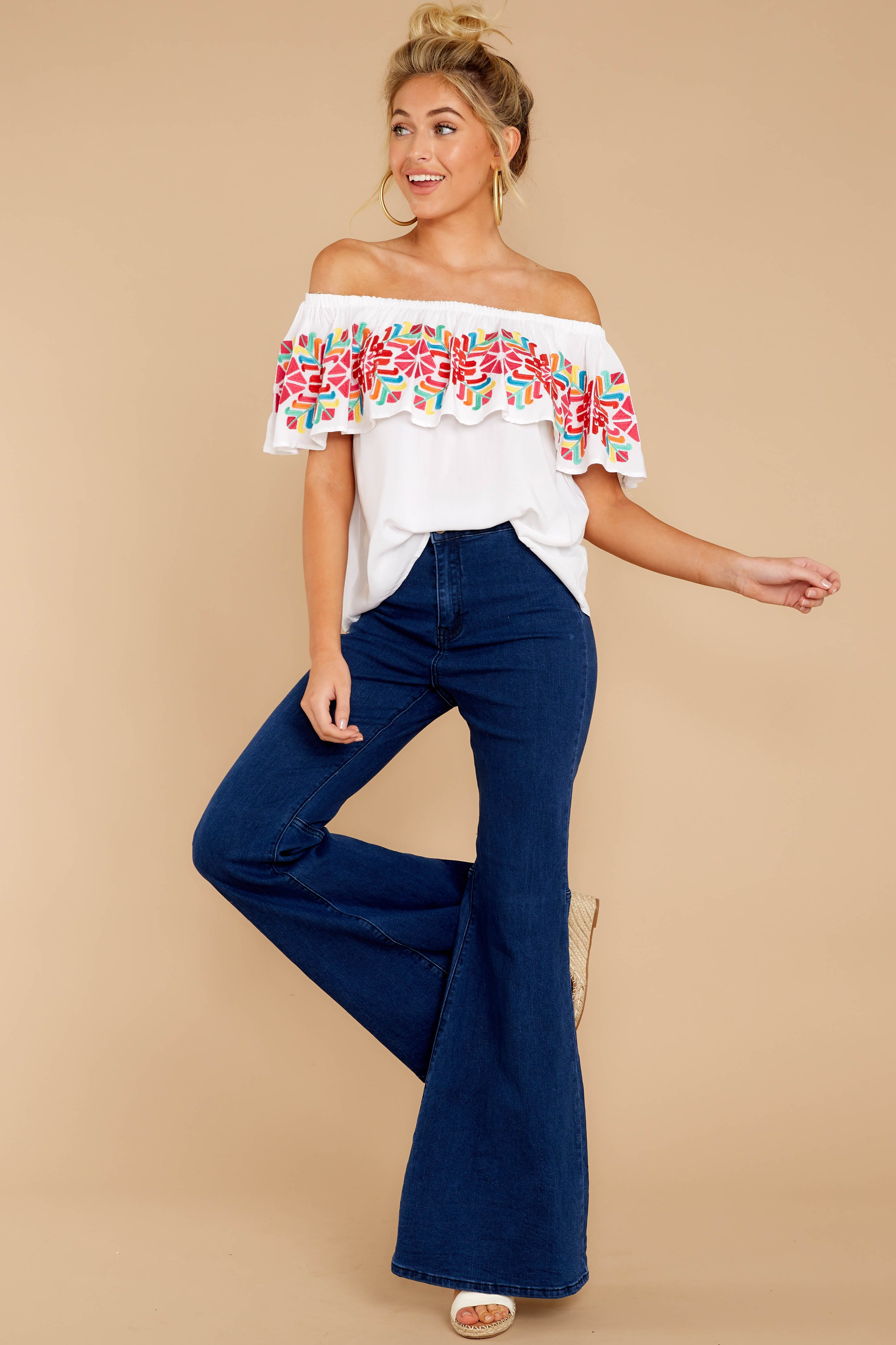 2 Before Dark White Embroidered Off The Shoulder Top at reddressboutique.com