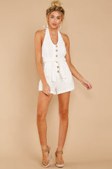 4 Inspire Optimism White Romper at reddressboutique.com