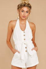 1 Inspire Optimism White Romper at reddressboutique.com