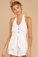 5 Inspire Optimism White Romper at reddressboutique.com