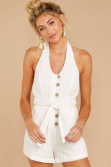 6 Inspire Optimism White Romper at reddressboutique.com