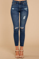 2 Make It Different Dark Wash Distressed Skinny Jeans at reddressboutique.com