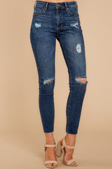 1 Make It Different Dark Wash Distressed Skinny Jeans at reddressboutique.com
