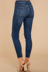 3 Make It Different Dark Wash Distressed Skinny Jeans at reddressboutique.com