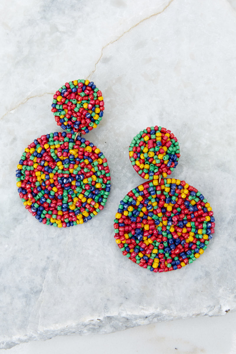2 Around It All Rainbow Earrings at reddressboutique.com
