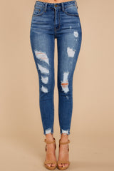 1 Best Choice Medium Wash Distressed Skinny Jeans at reddressboutique.com