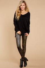 5 Black And Gold Velvet Shine Leggings at reddressboutique.com