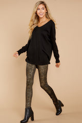 6 Black And Gold Velvet Shine Leggings at reddressboutique.com
