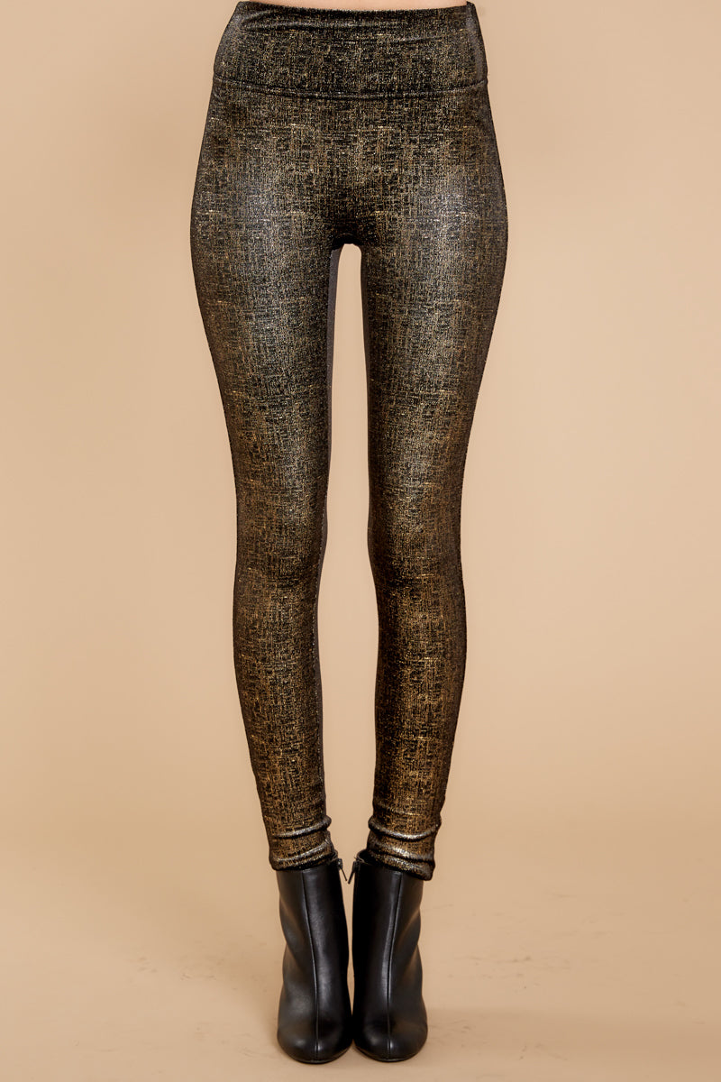 2 Black And Gold Velvet Shine Leggings at reddressboutique.com