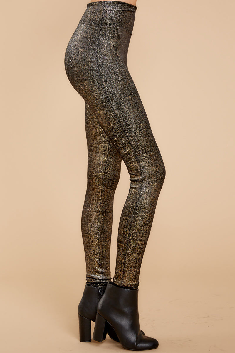 3 Black And Gold Velvet Shine Leggings at reddressboutique.com