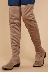 1 Walk Your Walk Taupe Over The Knee Boots at reddressboutique.com